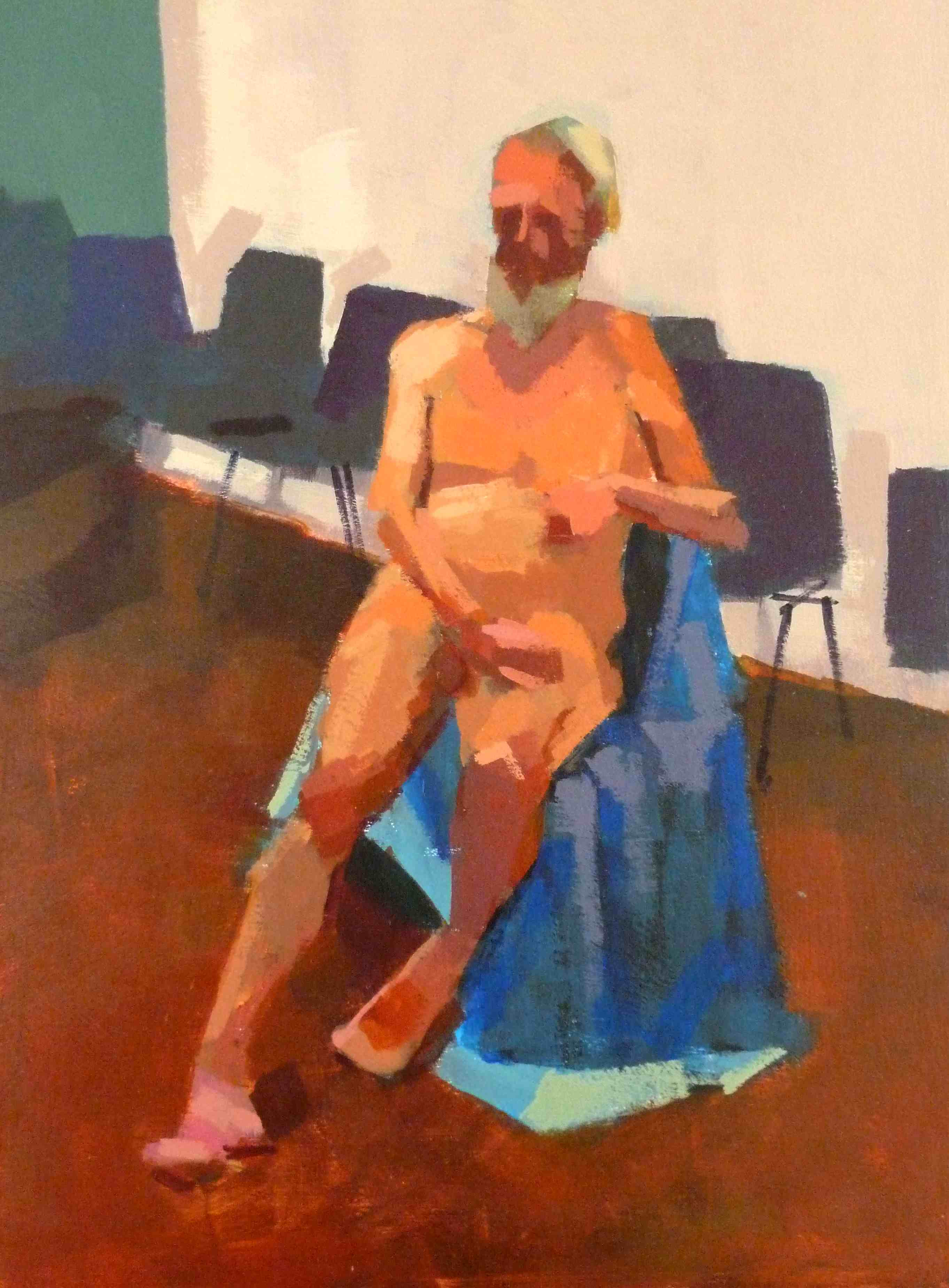 Male life model seated