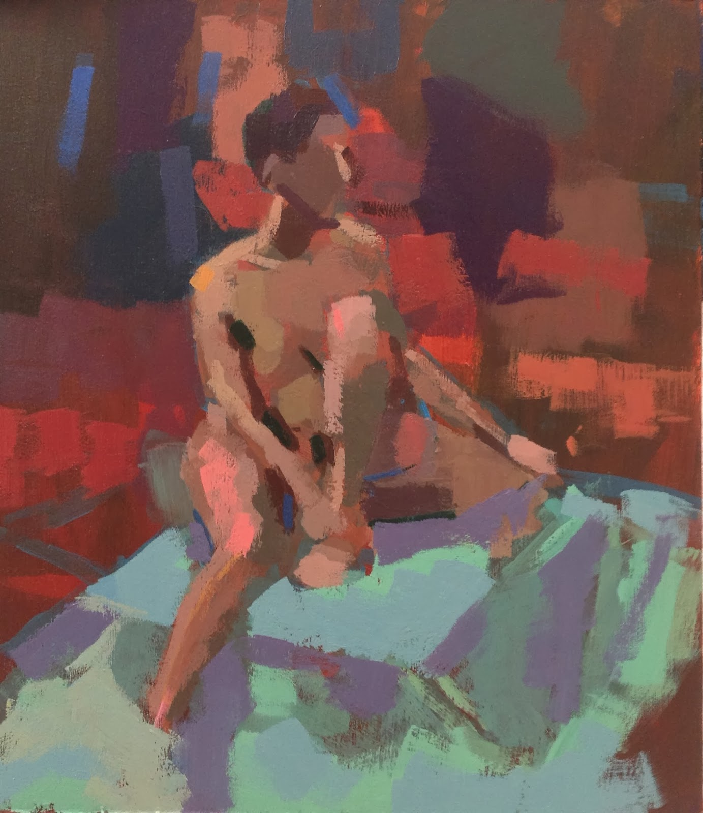 Acrylic study of female model seated on turquoise cloth