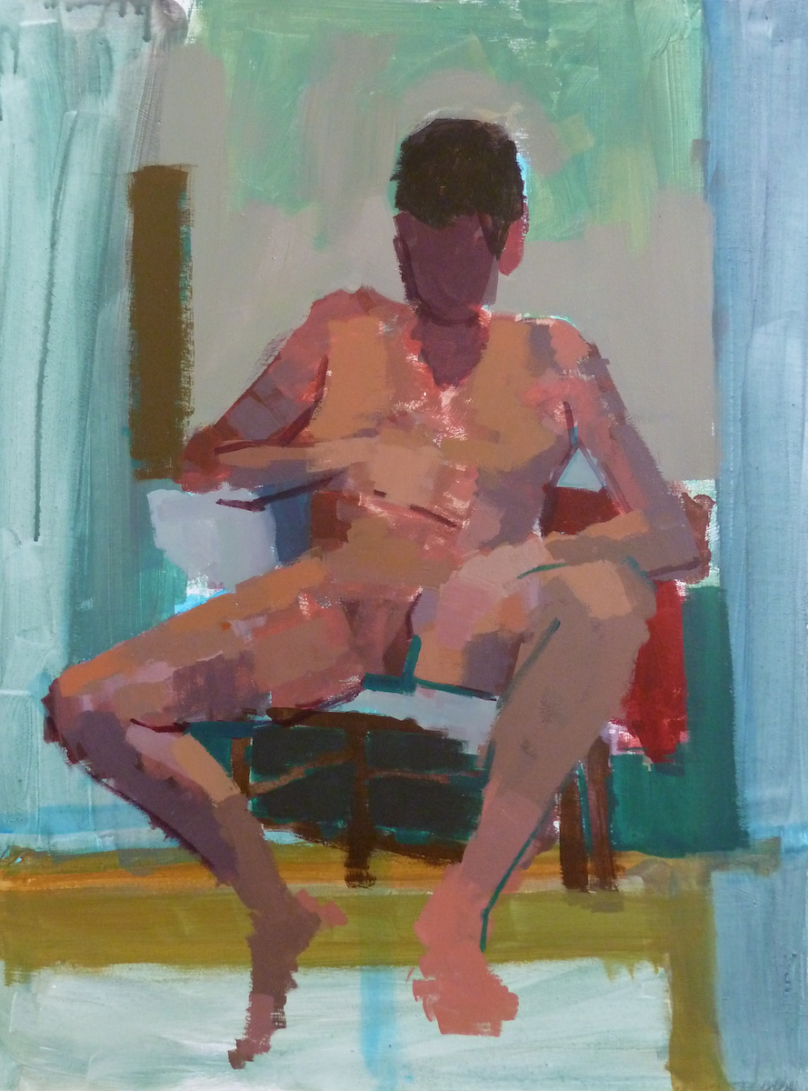 Painting of male life model seated in front of a mirror