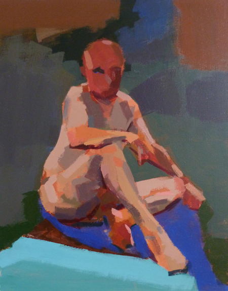 Acrylic study of male life model seated