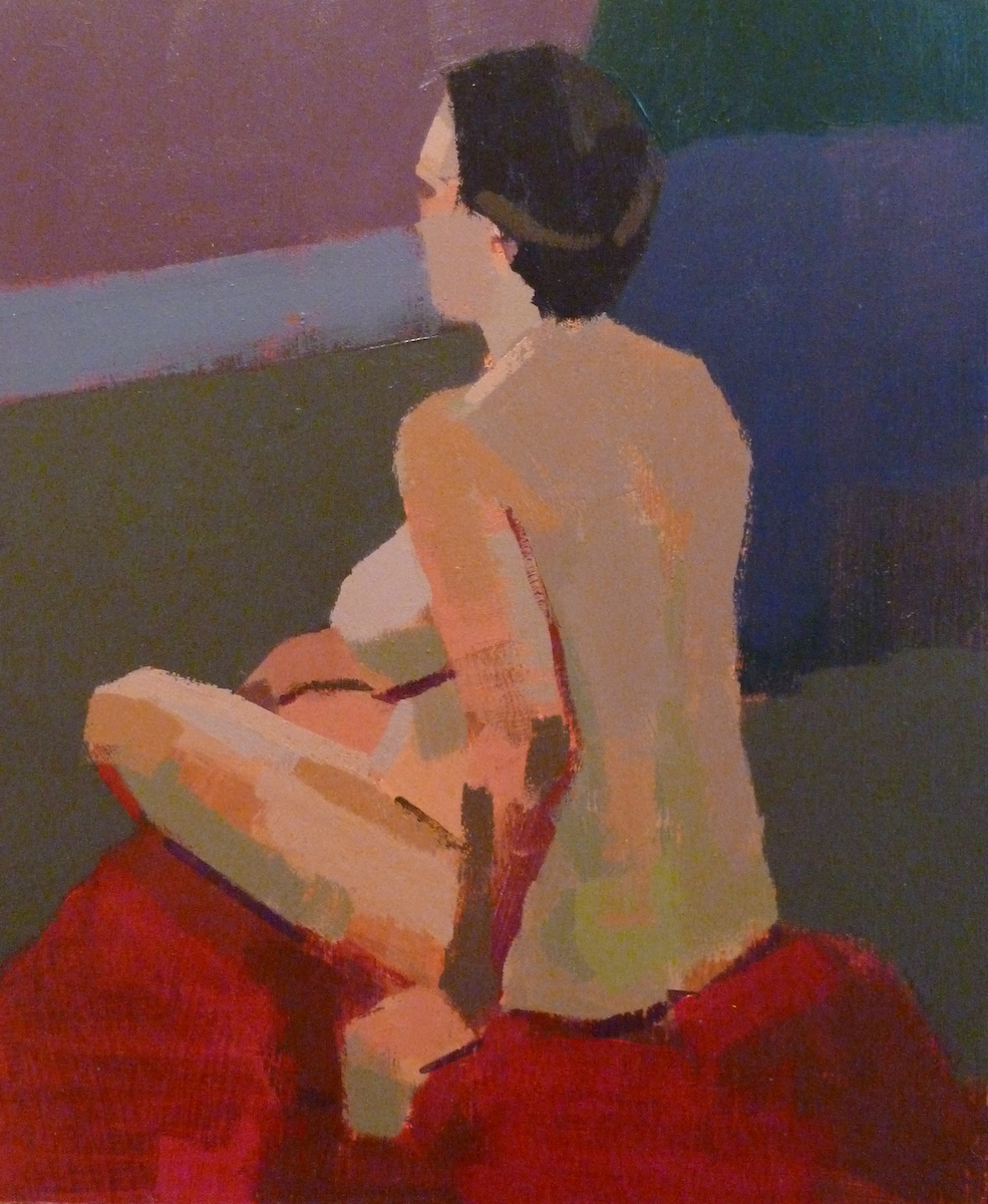 Side view of female life model seated