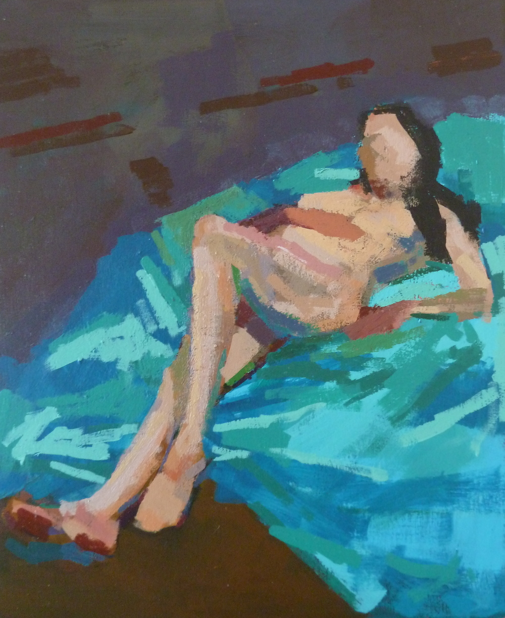 Acrylic painting of a reclining woman
