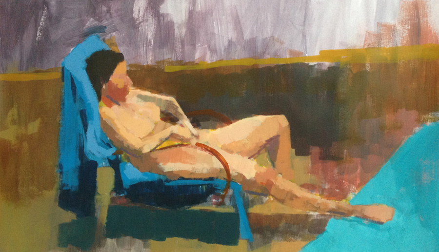 Acrylic life study on paper of seated woman