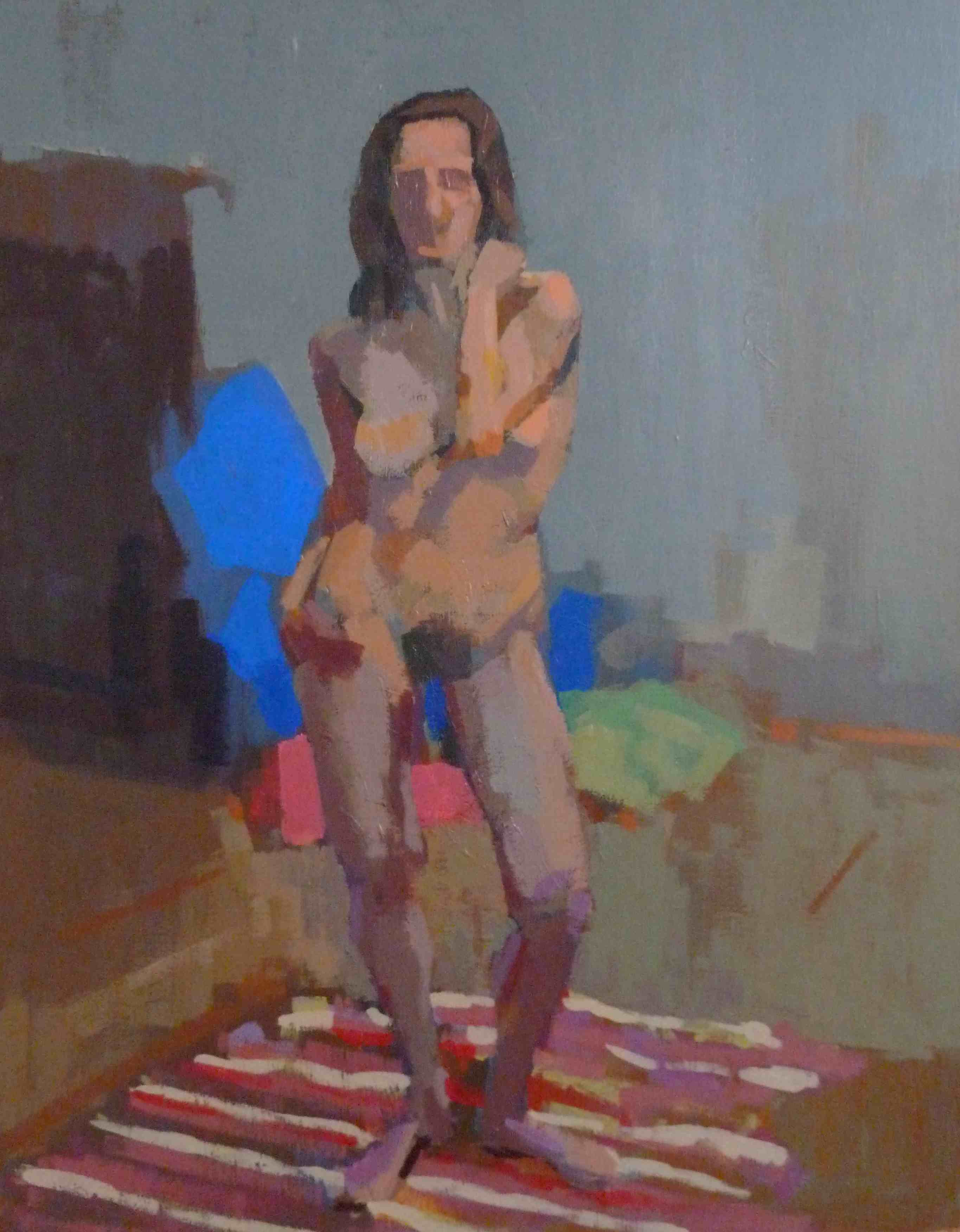 Acrylic painting of a standing woman