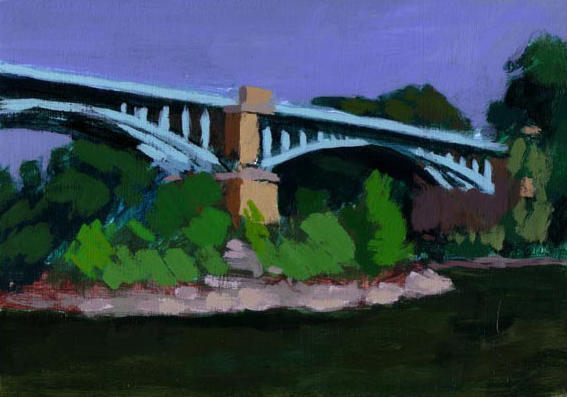 Painting of a bridge on the Ardeche River
