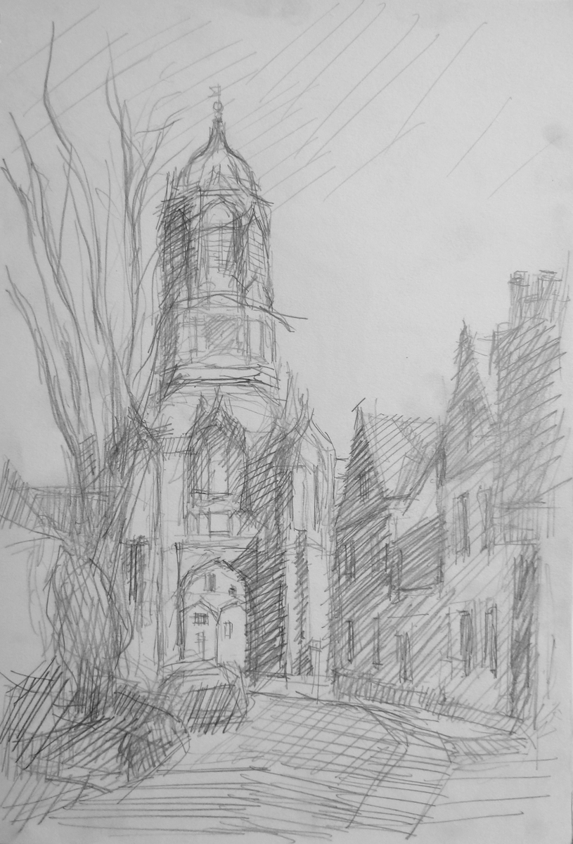 Sketch of Christ Church College Oxford