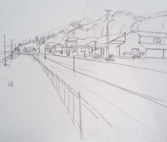 Sketch of houses near Hitoyoshi