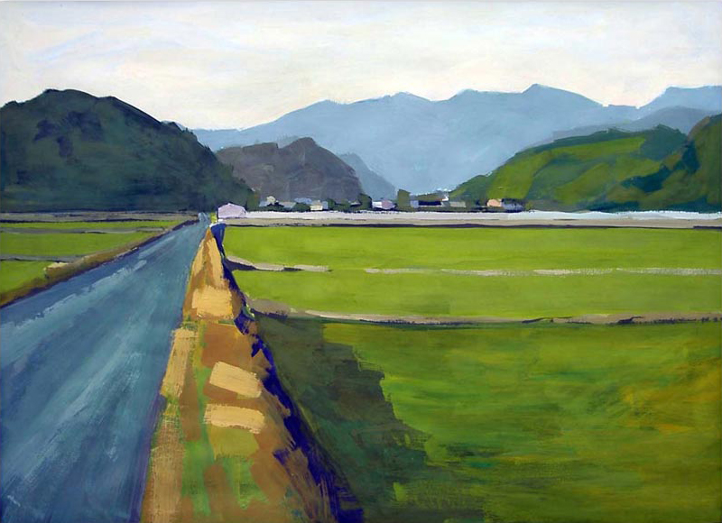 Painting of fields near Hitoyoshi