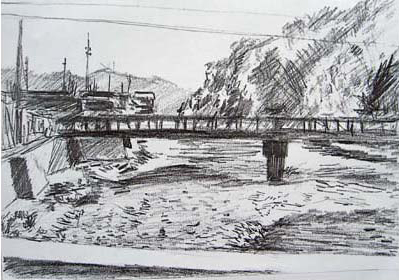 Sketch of a riverbed and bridge near Ushibuka, Japan