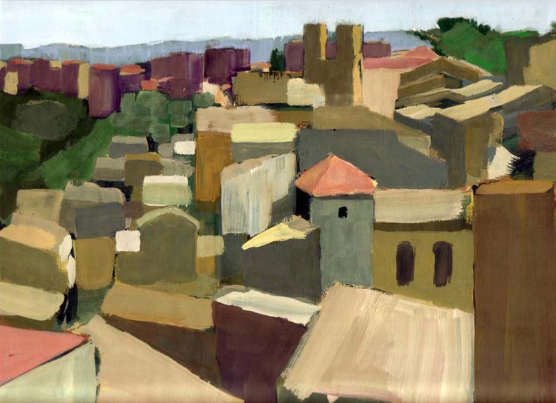 Painting of the old town, Caltagirone