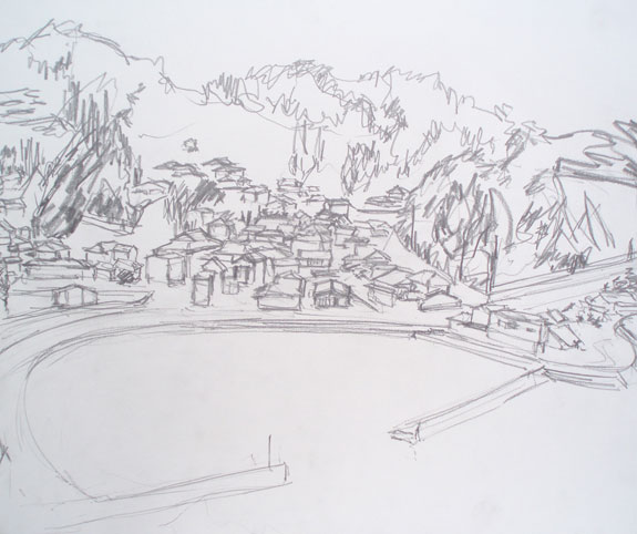 Sketch of houses and harbour in Ushibuka