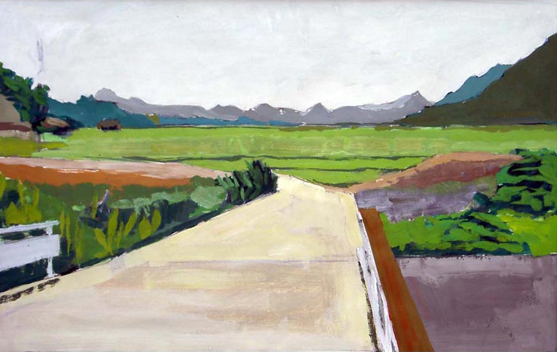 Painting of fields and mountains near Kawaura