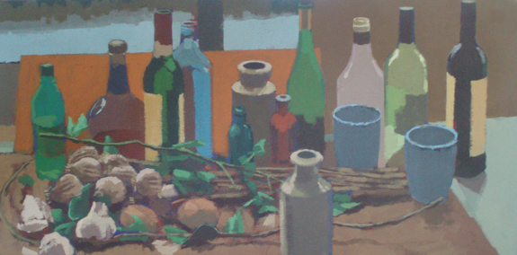 Still life: Bottles and dried poppies