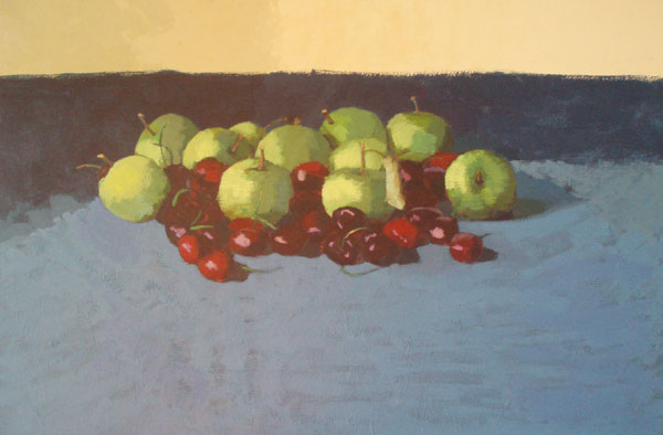 Still life: Apples and cherries